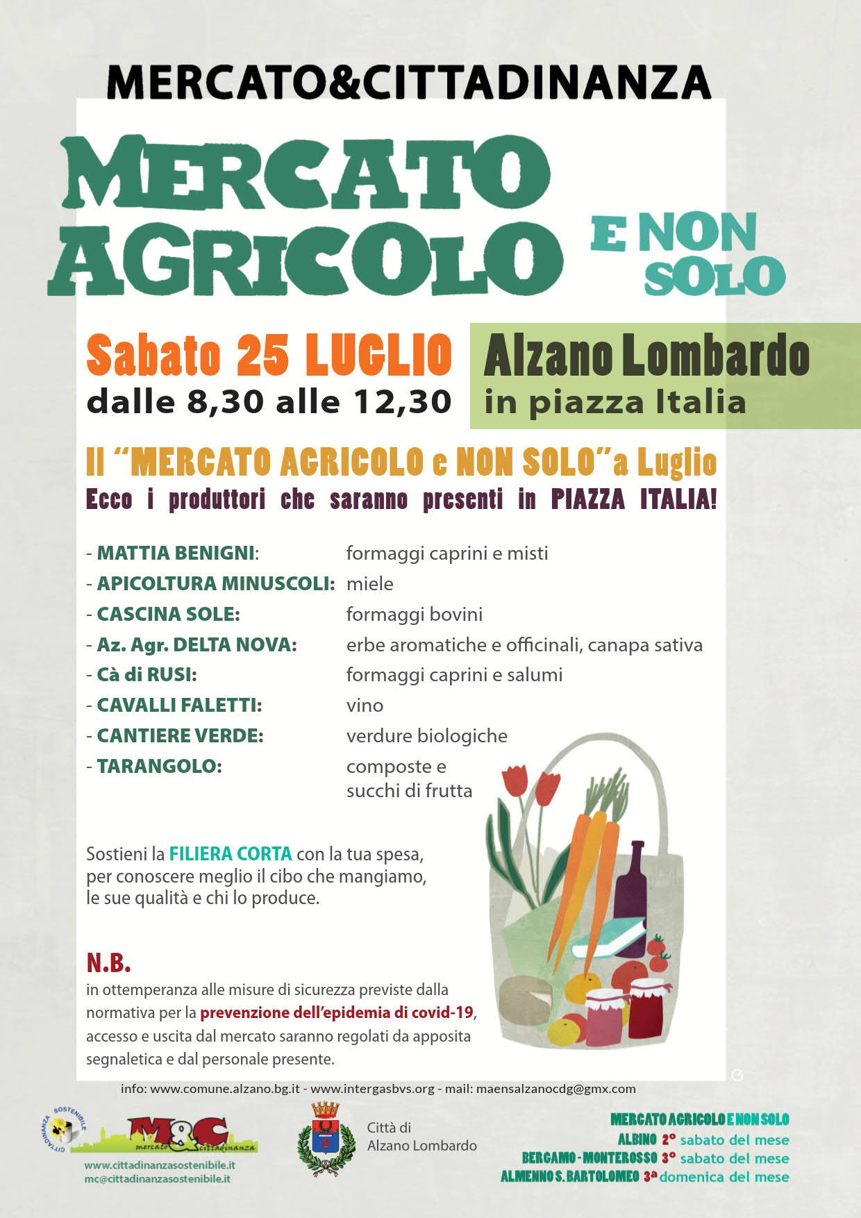 25 luglio 2020 - Mercato agricolo e non solo - MAENS Alzano L.do