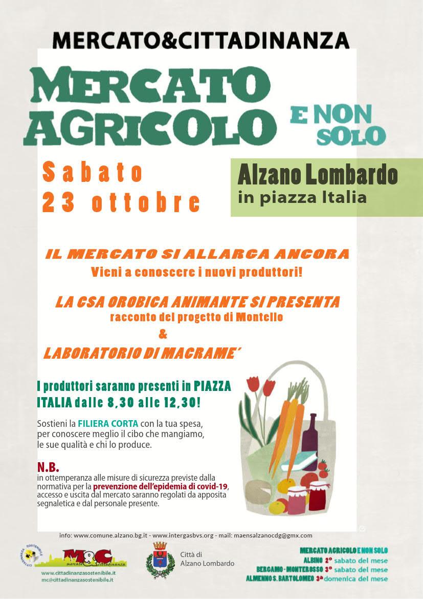 23 ottobre 2021 - Mercato agricolo e non solo - MAENS Alzano L.do